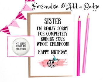 Funny sister card etsy funny birthday card sister birthday card funny sister birthday card funny sister birthday card bookmarktalkfo Images