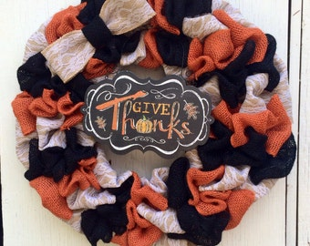 Fall Burlap Wreath- Autumn Wreath - Fall Wreath - Front Door Wreath for Fall - Black And Orange Burlap Wreath - Thanksgiving Wreath