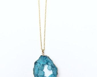 Teal Blue Druzy Agate Slice Necklace on Gold Filled Chain - Druzy Necklace - Druzy Pendant - Druzy Jewelry - Agate Slice - Agate Necklace