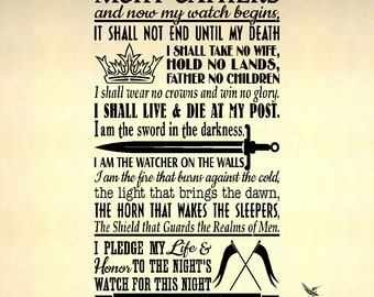 Game of Thrones, Night's Watch Oath - Wall Decal, Vinyl Decal, Sticker, Wall Art, Wall Words, Wall Graphics