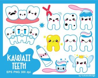 Kawaii clipart, kawaii tooth clipart, kawaii dentist clipart, tooth fairy clipart, braces clipart, cavity, commercial use
