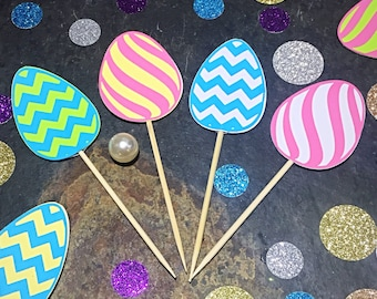 Easter Cupcake Toppers/ Easter Eggs Cupcake Toppers/ Easter Toppers/ Easter Decorations