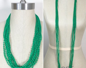 70s Vintage Kelly Green Plastic Bead Long Necklace