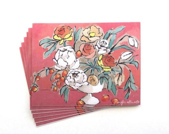 Painted floral notecard set stationery boxed set of 6 cards
