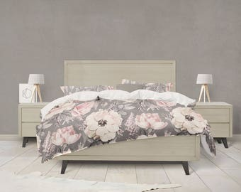 Grey And Pink Watercolor Floral Bedding
