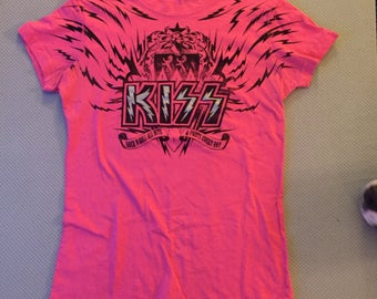 Custom Distressed KISS Rock Tee Hot Pink (Ladies M) Gene Simmons Paul Stanley