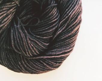 CHOCOLATE CAKE hand dyed yarn fingering sock dk bulky yarn super wash merino wool yarn single or ply. choose your base. rich dark brown yarn