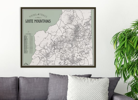 Color Your Hike White Mountains NH Hiking Trails Map 4000