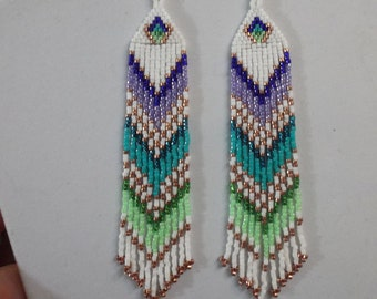 Native American Style Beaded Turquoise, Purple, Green Earrings Shoulder Dusters Southwestern, Boho, Gypsy, Brick Stitch, Peytote, Great Gift