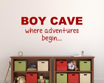 Boy Cave Vinyl Wall Decal Boys Playroom Vinyl Lettering Boys Bedroom Vinyl Wall Word Playroom Decal Boy Cave where adventures begin