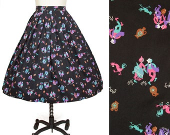 1950s Skirt ~ Square Dance Old Timey Rooster Chicken Novelty Print Cotton Skirt