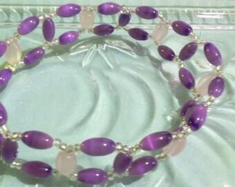 Purple and Pink Beadwoven Cuff Bracelet, Rose Quartz Jewelry with Mystical Purple Glass Beads, Beaded Woven Jewelry, Stone Bead Jewelry