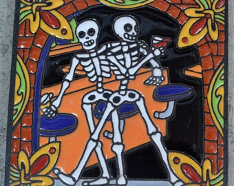 Talavera Mexican Tile Mosaic Day of the Dead / Tiles Clay Catrin Drinking with he friend