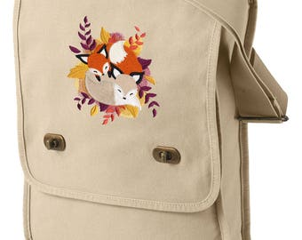 Cuddle Foxes Embroidered Canvas Field Bag