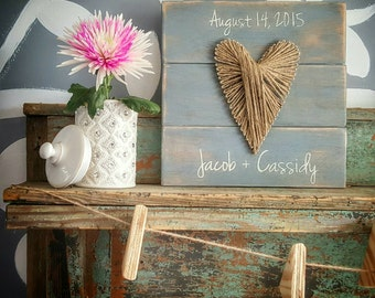12x12 Custom Heart Twine String Art with Date and Names for Wedding, Anniversary, or other Special Occassion, personalized wood sign
