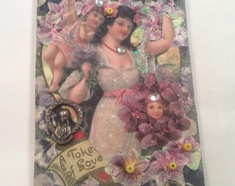 """ACEO Tiny Mini Art Card Magnet - """"A Token Of Love"""""""
