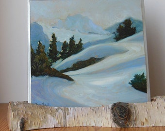 Small Landscape Oil Painting Mt Shuksan view from North Painting on metallic Silver in Natural Birch Branch Stand display on Desk or shelf