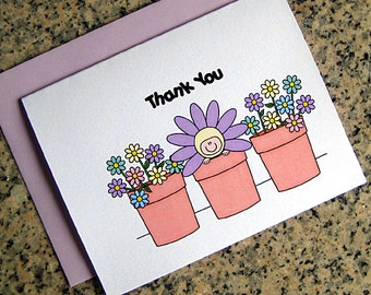 pastels flower pot baby shower thank you cards for either boy or girl (blank or custom printed inside) with lavender envelopes - set of 10