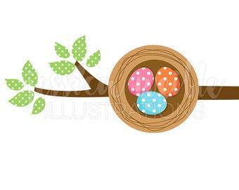 Eggs in a Nest Cute Digital Clipart, Nest Clip art, Cute eggs in a nest on a branch Graphic, Baby Bird Eggs Illustration, #038