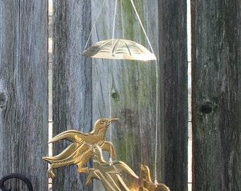 Sweet Solid Brass Bird Wind Chimes