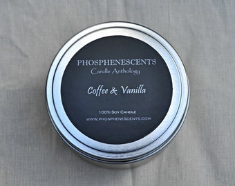 Coffee & Vanilla 6.5 Oz Wood Wick Soy Candle