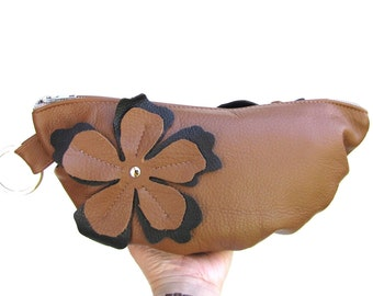 Oak Tan Leather Wristlet, leather travel cosmetic case, small leather clutch with flower applique