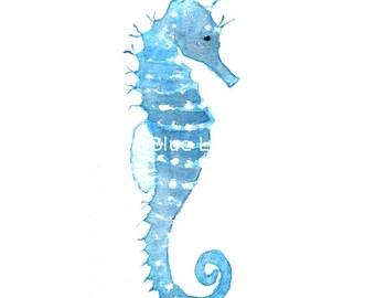 Seahorse – Watercolor Print – Instant Download, blue watercolor