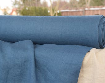 Pure linen fabric, 100% linen fabric 190gsm. Blue color, blueberry undertone. Middle weight, densely woven, washed, softened.
