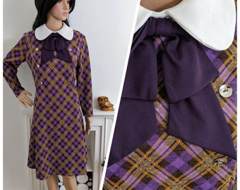Vintage 60s Purple Peter Pan Checked Bow Textured Shift Dress Mad Men / UK 14 / EU 42 / US 10