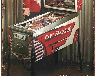 Bally Pinball Elton John Captain Fantastic Ad Reproduction metal sign 8 x 12