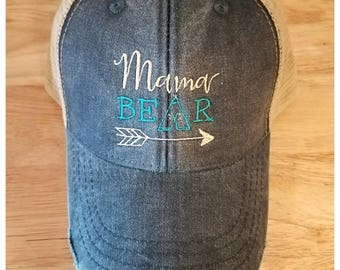 Mama Bear Distressed Trucker Hat - MANY COLORS AVAILABLE