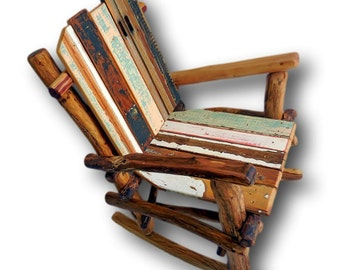 Rocking Chair, Upcycled Furniture, Chair, Wooden, Wooden Chair, Cabin Furniture, Log Furniture, Porch Furniture, Rustic Furniture, Upcycled