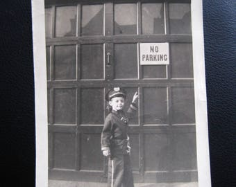 No Parking... 1940's Vintage Photo... Original Vintage Snapshot Photograph