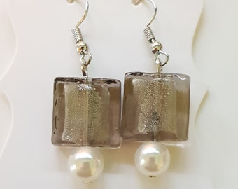 Square glass and faux pearl earrings