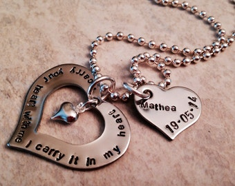 I carry your heart in my heart hand stamped personalized necklace