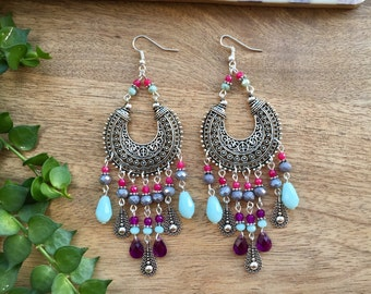 Ethnic Earrings Silver Earrings Statement Earrings Colorful Earrings Long Earrings Tribal Earrings Boho Earrings Boho Jewelry Boho Chic