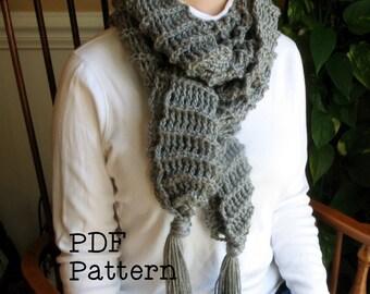 Cozy Crochet Fringe Scarf Pattern PDF Digital Scarf Easy Project Extra Long