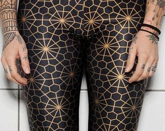 Womens Leggings-Geometric Leggings-Sacred Geometry-Fashion Leggings-Yoga Pants-High Quality-Made in Greece-Tattoo Clothing-HeartbeatInk