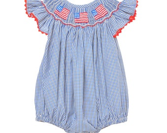 Hand Smocked Flag Romper