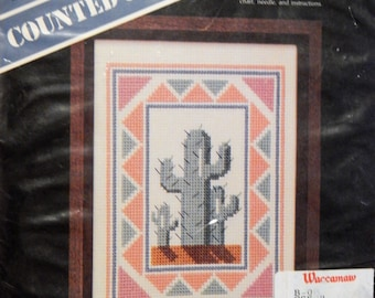 Easy to do cactus counted cross stitch kit from Banar Designs