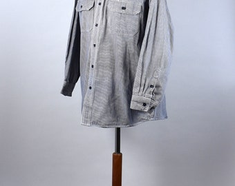 Blue and White Hickory Stripe Chore Shirt by Key, 100% Cotton, Size Large