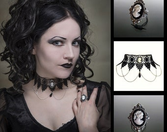 Gothic choker necklace and cameo ring set - SINISTRA lace choker and matching Cameo ornate filigree gothic ring