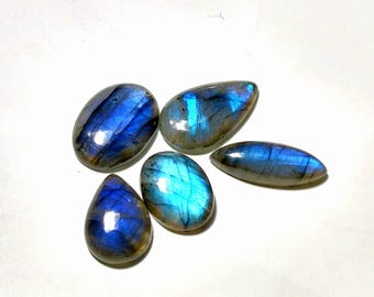 Blue flashy high quality labradorite cabochon  5 pcs 30.8 gm GM 507