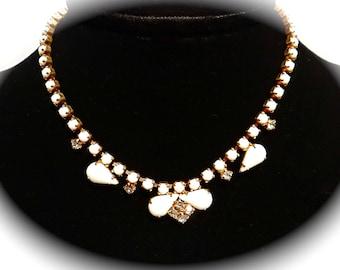 Vintage Milk Glass Necklace Gold Bridal Necklace VA-195