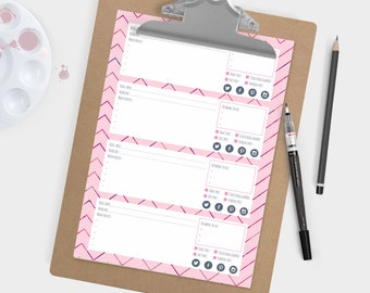 Pink watercolour blog post planner - Plan 4 posts per sheet. Printable blog and business resource