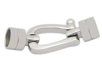 Surgical Stainless Steel Silver Tone Horse Shoe Connector Glue in For Round Leather Cord Rope Kumihimo Bracelet Making