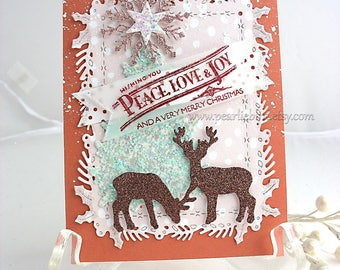 Festive Winter Holiday Deluxe Reindeer Christmas Card~peace love joy~Cottage Style~Christmas gift card