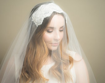 Lace Juliet Sheer Drop Wedding Veil (Blusher Veil, Bridal Veil, Diamond White, Cathedral, Elbow, Finger Tip, Waltz, Chapel Length)