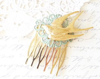 Golden Flying Swallow Hair Comb - Sparrow Hair Comb - Woodland Bird Hair Comb - Verdigris Sage Green Swallow Hair Comb - Bridal Hair