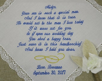 Personalized Wedding Handkerchief - Father Of The Bride Wedding Handkerchief Gift From Bride - Wedding Favor - Wedding Embroidered Gift